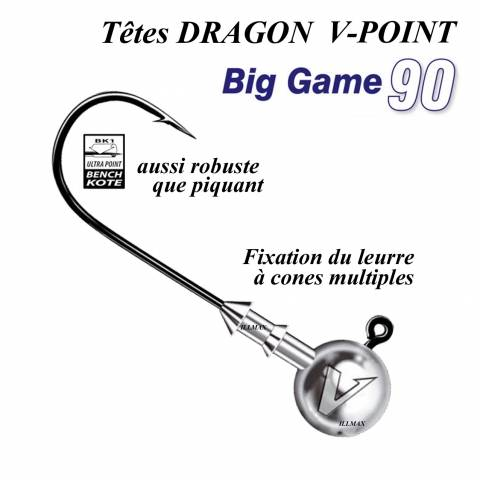 TÊTES PLOMBEES BIG GAME DRAGON V-POINT / Leurres souples