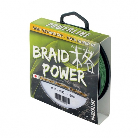 TRESSE BRAID POWER VERTE 250m POWERLINE / Fils de pêche